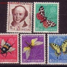 Sellos: SUIZA 1954 IVERT 553/57 *** POR LA JUVENTUD - MARIPOSAS - FAUNA. Lote 60908671
