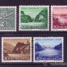 Sellos: SUIZA 1956 IVERT 576/80 *** POR LA PATRIA - PAISAJES. Lote 60910171