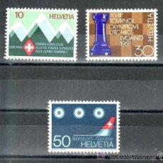 Sellos: SUIZA 1968 IVERT 803/5 *** SERIE DE PROPAGANDA - ANIVERSARIOS Y ACONTECIMIENTOS. Lote 61093515
