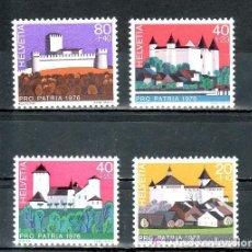 Sellos: SUIZA 1976 IVERT 1005/8 *** POR LA PATRIA - CASTILLOS SUIZOS. Lote 61535760