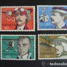 Stamps - Suiza 1977 Ivert 1017/20 *** Pioneros Suizos de la Aviación - 61536016