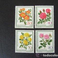 Sellos: SUIZA 1977 IVERT 1042/45 *** POR LA JUVENTUD - FLORA - ROSAS. Lote 61536748