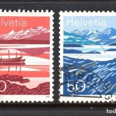 Sellos: SUIZA 1387/88 - AÑO 1991 - PAISAJES - LAGOS DE MONTAÑA. Lote 234141370