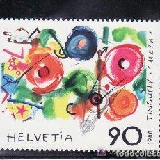 Sellos: SUIZA 1988 IVERT 1308 *** EMISIÓN CONJUNTA SUIZA - FRANCIA - PINTURA DE TINGUELY. Lote 62543756