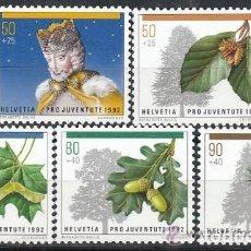 Sellos: SUIZA 1992 IVERT 1411/15 *** POR LA JUVENTUD - SELLOS DE NAVIDAD - FLORA - ARBOLES. Lote 63297748