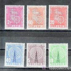 Sellos: SUIZA 1958 SERVICIO IVERT 393/98 *** UNIÓN INTERNACIONAL DE TELECOMINICACIONES - U.I.T.. Lote 63537740