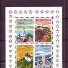 Sellos: SUIZA 1987 HB IVERT 25 *** 2º CENTENARIO DEL TURISMO EN SUIZA - PAISAJES Y MONUMENTOS. Lote 63544200
