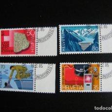 Sellos: SUIZA. SERIE COMPLETA CON MATASELLOS. YVERT Nº 1219/22. 1985. . Lote 69896417