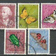 Sellos: SUIZA - 1957 - MICHEL 648/652 - USADO (FAUNA/MARIPOSAS). Lote 74319283