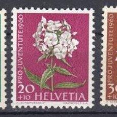 Sellos: SUIZA 1960 PRO JUVENTUD Y FLORES - YVERT 668-672. Lote 27126059
