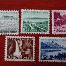 Sellos: SUIZA YVERT 548/52*** NUEVOS SIN CHARNELA 1954 PRO PATRIA. Lote 88351204