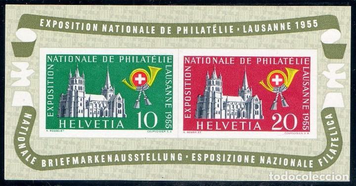 SUIZA AÑO 1955 YV HB 15*** EXPOSICIÓN NACIONAL DE FILATELIA EN LAUSANA - ARQUITECTURA - CORREOS (Sellos - Extranjero - Europa - Suiza)