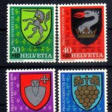 Sellos: SUIZA 1979 - PRO JUVENTUD - ESCUDOS - YVERT 1096-1099 - EN NUEVO ** MNH. Lote 95453075
