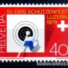 Sellos: SUIZA 1979 - 50 FIESTA FEDERAL DE TIRO EN LUCERNA - YVERT 1077 NUEVO ** MNH. Lote 95568563