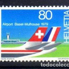 Sellos: SUIZA 1979 - AEROPUERTO FRANCO-SUIZO DE BALE-MULHOUSE - YVERT 1079 NUEVO ** MNH. Lote 95568735
