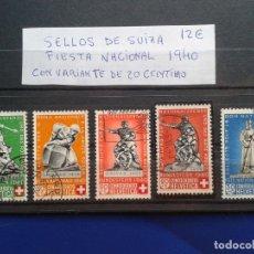 Sellos: LOTE DE 5 SELLOS DE SUIZA FIESTA NACIONAL 1940 CON VARIANTE DE 20 CENTIMOS CONFOEDERATIO HELVETICA. Lote 95616167