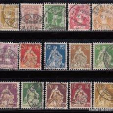 Sellos: SUIZA , 1907 - 1917 YVERT Nº 113 / 127. Lote 105677667