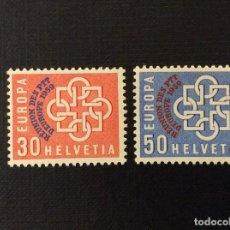 Sellos: SUIZA Nº YVERT 632/3*** AÑO 1959. CONFERENCIA EUROPEA DE CORREOS Y TELECOMUNICACIONES. Lote 106966391