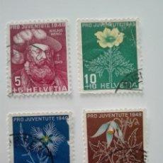 Stamps - SUIZA 1949, , PRO JUVENTUD. MATASELLADO SUIZA 493/96** - AÑO 1949 - FLORA - FLORES - PRO JUVENTUD - 125196479