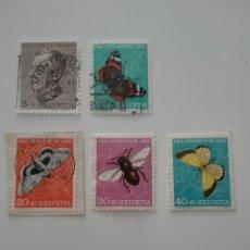 Sellos: SUIZA 502/06 - AÑO 1950 - FAUNA - INSECTOS - MARIPOSAS - PRO JUVENTUD. Lote 125196879