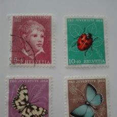 Sellos: SUIZA 526/29 - AÑO 1952 - FAUNA - INSECTOS - MARIPOSAS - PRO JUVENTUD. Lote 125197376