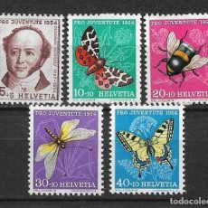 Sellos: SUIZA 1954 MICHEL 602/606 ** MNH - 1/30. Lote 143745754