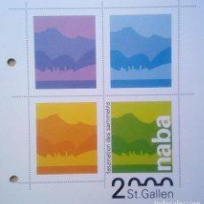 Sellos: SUIZA - EXPOSICIÓN NACIONAL DE LA FILATELIA 2000 - NABA ST. GALLEN - FOLLETO DE 4 SELLOS. Lote 144087358