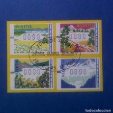 Sellos: SUIZA - ETIQUETAS ATM - TOUR DE SUIZA 1996 - LAS 4 ESTACIONES DEL AÑO - FOLLETO. Lote 144090386