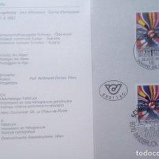 Sellos: SUIZA - FOLLETO - 22.05.1992 - EMISIÓN COMÚN DE SUIZA Y AUSTRIA CON DOS SELLOS - FOLLETO. Lote 146020738