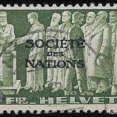 Sellos: LIGA DE NACIONES SUIZAS 1939 - SC # 2O67 10FR VERDE, BUFF - 18/3. Lote 146579166