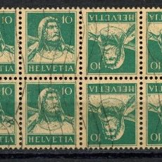 Sellos: SUIZA, SELLO, GUILLAUME TELL, TETE BECHE, HELVETIA, 1924, SUISSE STAMP, BLOQUE. Lote 151978954