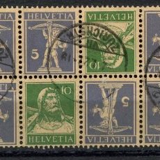 Sellos: SUIZA, SELLO, GUILLAUME TELL, TETE BECHE, HELVETIA, 1924, SUISSE STAMP, BLOQUE. Lote 151979578