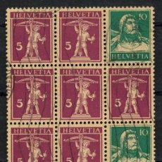 Sellos: SUIZA, SELLO, GUILLAUME TELL, TETE BECHE, HELVETIA, 1924, SUISSE STAMP, BLOQUE. Lote 151981618