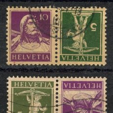 Sellos: SUIZA, SELLO, GUILLAUME TELL, TETE BECHE, HELVETIA, 1930, SUISSE STAMP, (2). Lote 151985930