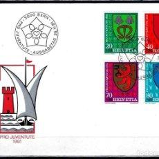 Sellos: 1981 SUIZA SOBRE PRIMER DÍA CIRCULACIÓN SPD-FDC MICHEL 1210/3 YVERT 1139/42 - PRO JUVENTUD ESCUDOS. Lote 154129362