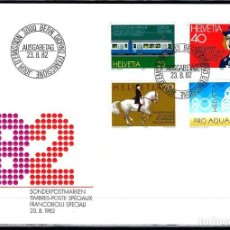 Sellos: 1982 SUIZA SOBRE PRIMER DÍA CIRCULACIÓN SPD-FDC MICHEL 1232/5 YVERT 1161/4 - ANIVERSARIOS. Lote 154133238