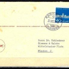 Sellos: 1953 SUIZA SOBRE PRIMER DÍA CIRCULACIÓN SPD-FDC MICHEL 585 YVERT 536 -INAUGURACIÓN AEROPUERTO ZURICH. Lote 154160498