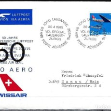 Sellos: 1969 SUIZA SOBRE PRIMER DÍA SPD-FDC MICHEL 899 YVERT PA46 - PRO AERO 50 ANIV. VUELO LAUSANNE-ZÜRICH. Lote 154179182