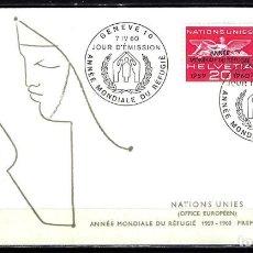 Sellos: 1960 SUIZA SOBRE PRIMER DÍA CIRCULACIÓN SPD YVERT 408/409 - ONU NACIONES UNIDAS AÑO DEL REFUGIADO. Lote 154314026
