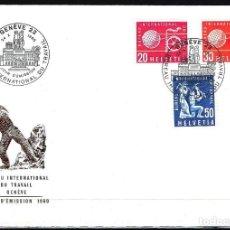 Sellos: 1960 SUIZA SOBRE PRIMER DÍA CIRCULACIÓN SPD YVERT S 411/413 - BUREAU INTERNATIONAL DU TRAVAIL. Lote 154316354