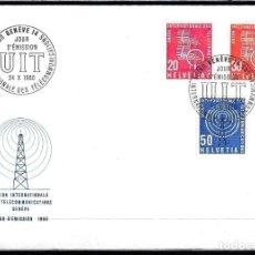 Sellos: 1960 SUIZA SOBRE PRIMER DÍA CIRC. SPD YVERT S 441 - UIT UNION INTERNTIONALE DES TELECOMUNICATIONS. Lote 154323234
