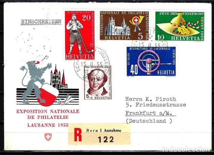 1955 SUIZA SOBRE PRIMER DÍA CIRC. SPD FDC YVERT558/561 - EXPOSICIÓN NACIONAL DE FILATELIA (Sellos - Extranjero - Europa - Suiza)