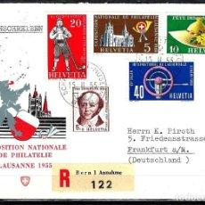 Sellos: 1955 SUIZA SOBRE PRIMER DÍA CIRC. SPD FDC YVERT558/561 - EXPOSICIÓN NACIONAL DE FILATELIA. Lote 154367722