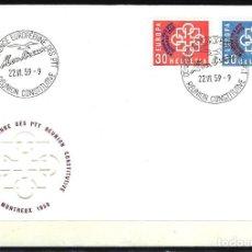 Sellos: 1959 SUIZA SOBRE PRIMER DÍA CIRCULACIÓN SPD FDC YVERT 632/633 -CONFERENCIA EUROPEA CONSTITUYENTE PTT. Lote 154371322