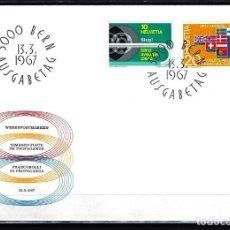 Sellos: 1967 SUIZA SOBRE PRIMER DÍA CIRC. SPD FDC YVERT 784/785 - PROPAGANDA CIEGOS ASOC. EUROPEA COMERCIO. Lote 154481230