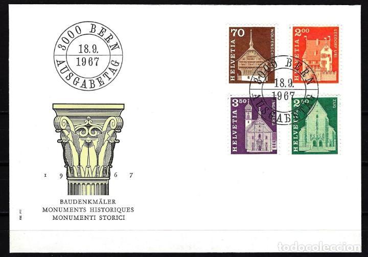 1967 SUIZA SOBRE PRIMER DÍA CIRC. SPD FDC YVERT 795/798 - MONUMENTOS HISTÓRICOS (Sellos - Extranjero - Europa - Suiza)