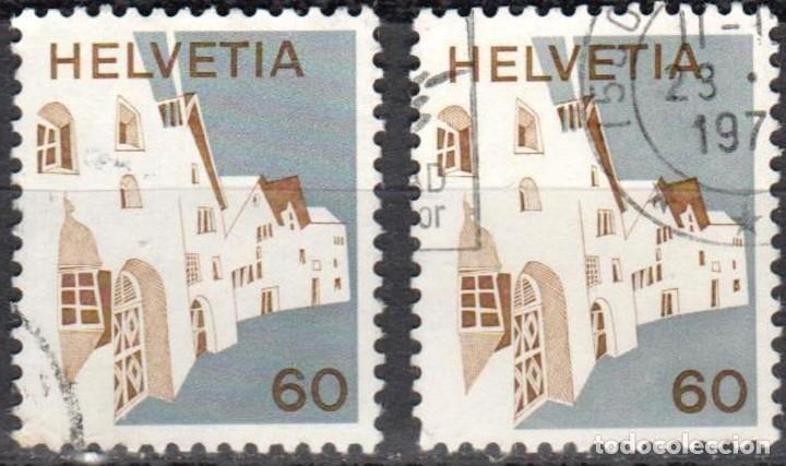 SUIZA - DOS SELLOS - IVERT #940 - ***P A I S A ,J E S** - AÑO 1972 - USADOS (Sellos - Extranjero - Europa - Suiza)