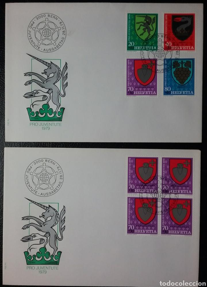 SOBRES DE PRIMER DÍA DE SUIZA PRO-JUVENTUD 1979, ESCUDOS (Sellos - Extranjero - Europa - Suiza)