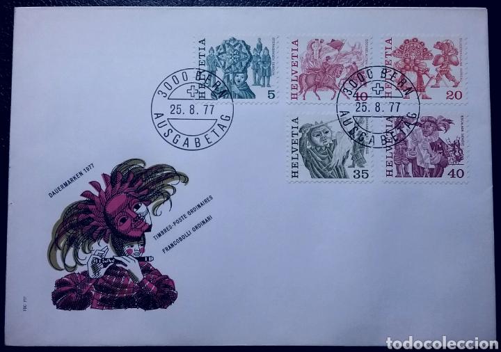 SOBRE DE PRIMER DÍA DE SUIZA 1977, FOLKLORE SUIZO (Sellos - Extranjero - Europa - Suiza)