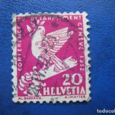 Sellos: SUIZA, 1932 CONFERENCIA DE DESARME, YVERT 256. Lote 161769674